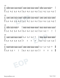 Croatian Rhapsody-Easy Version Numbered Musical Notation Preview 2