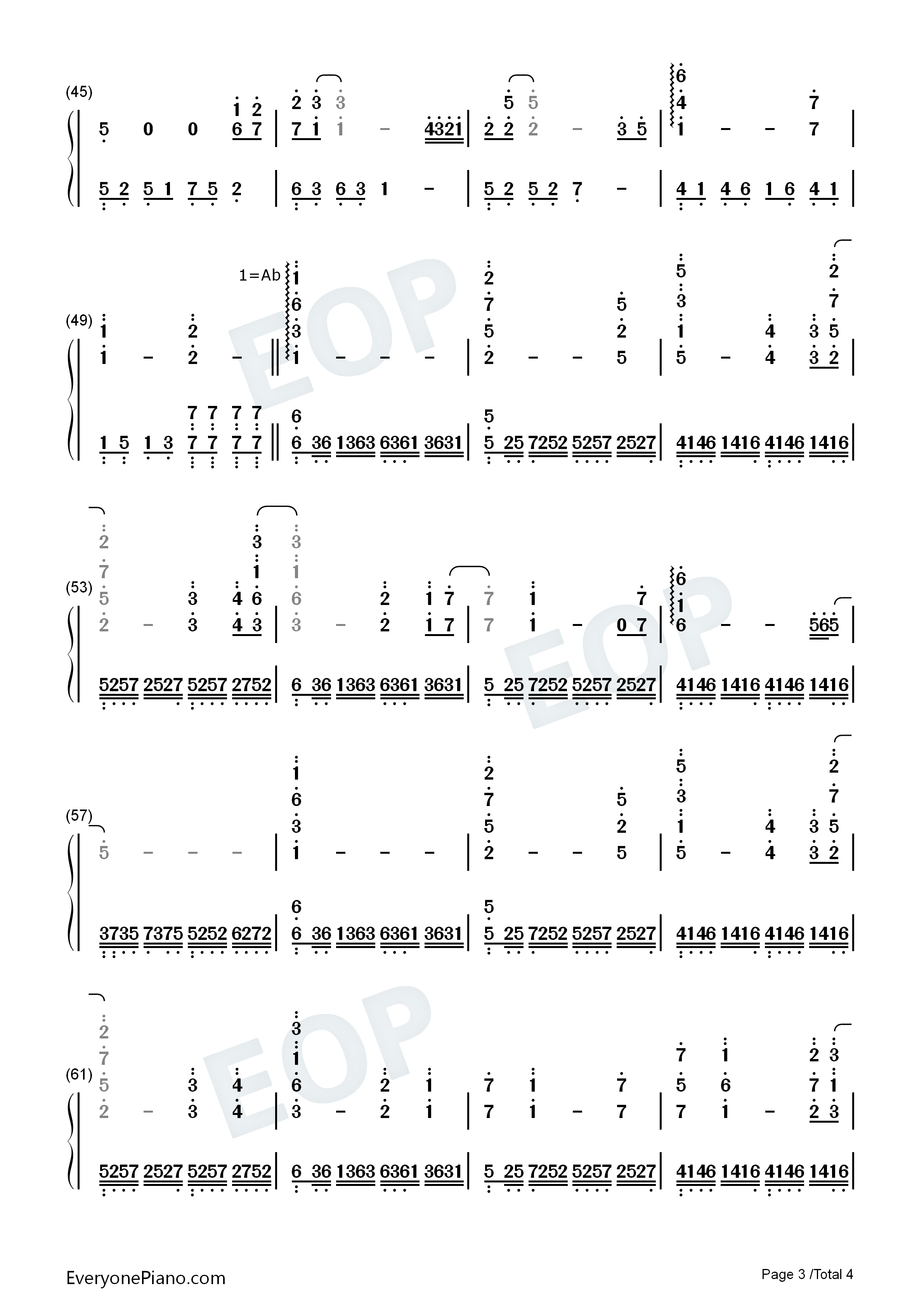 My Heart Will Go On-Adapted Version Numbered Musical Notation Preview 3
