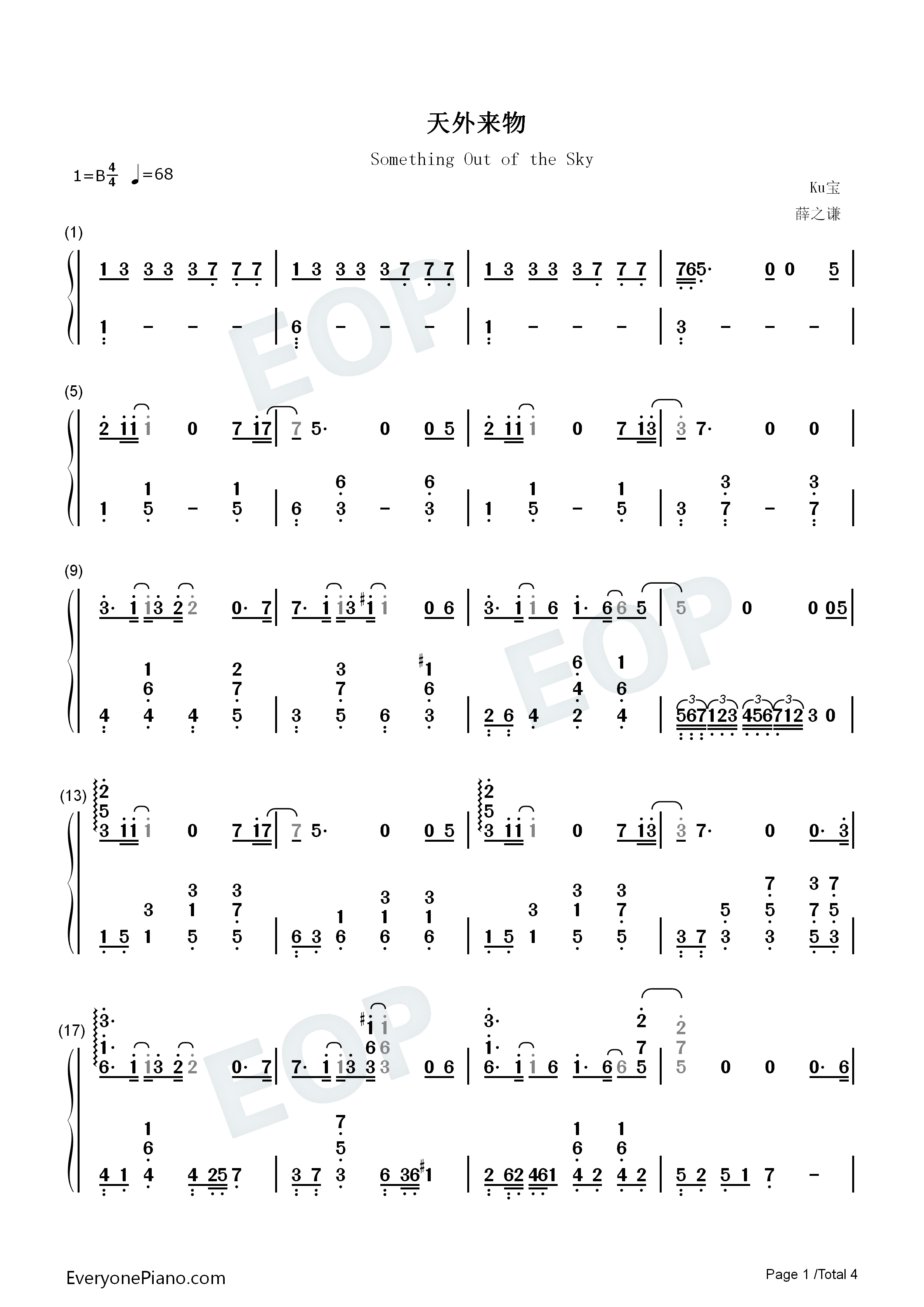 Something Out of the Sky Numbered Musical Notation Preview 1