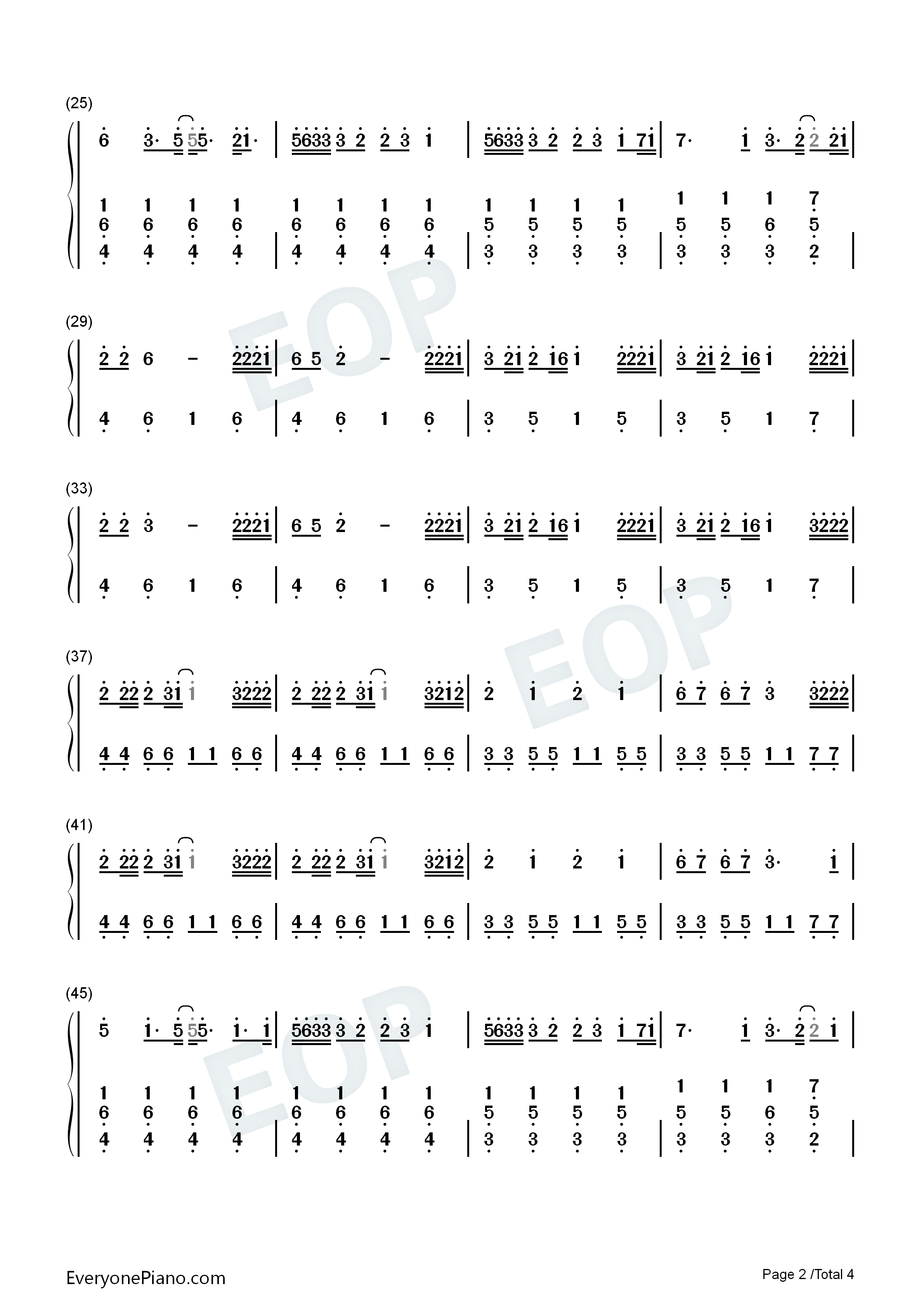 Nobodys Love-Maroon 5 Numbered Musical Notation Preview 2