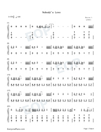 Nobodys Love-Maroon 5-Numbered-Musical-Notation-Preview-1