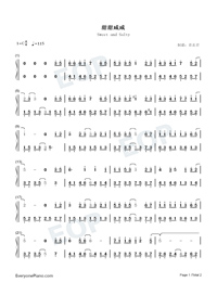 Sweet and Salty-TikTok Hot Song-Numbered-Musical-Notation-Preview-1