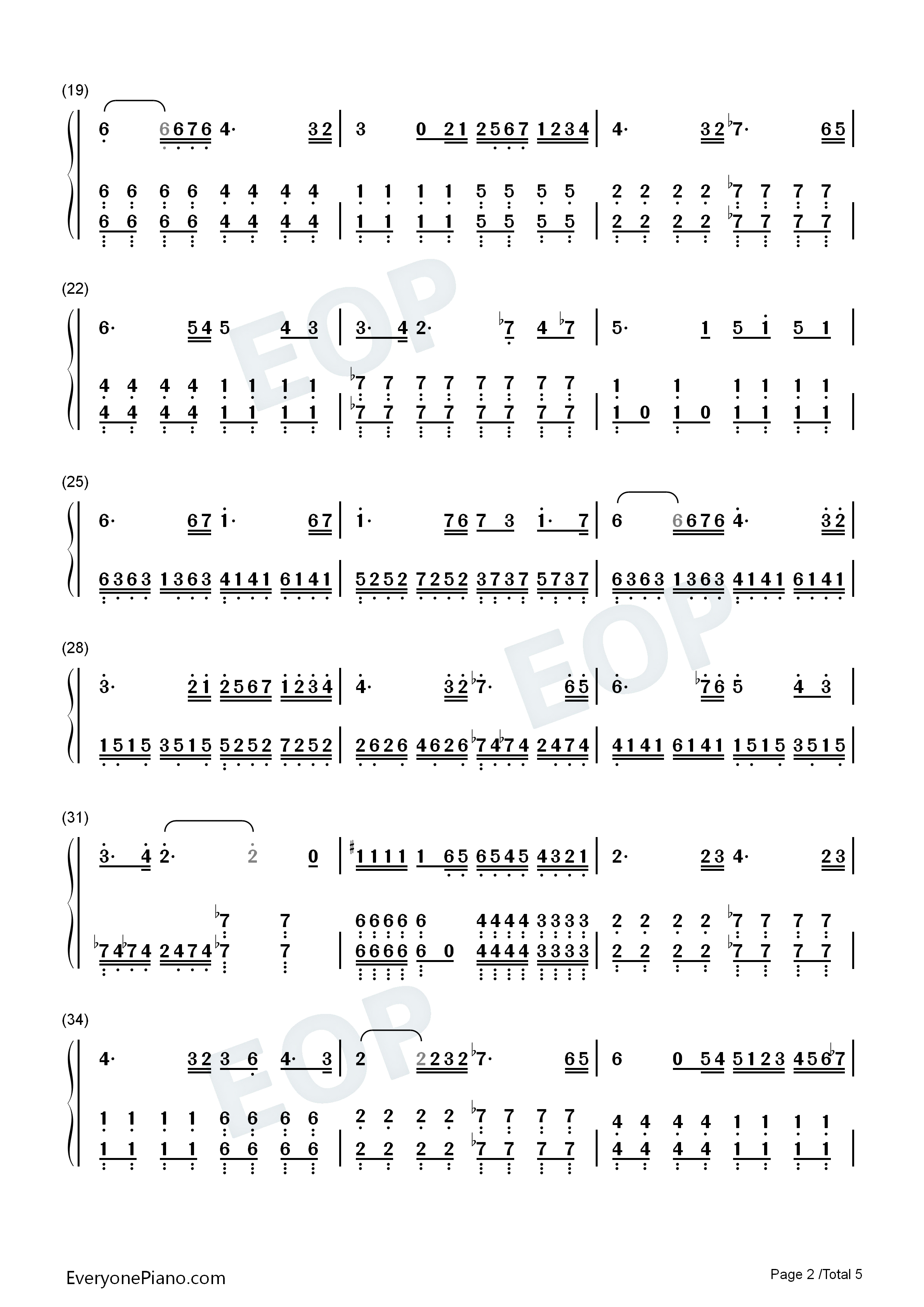 The Dawn-Full Version Numbered Musical Notation Preview 2