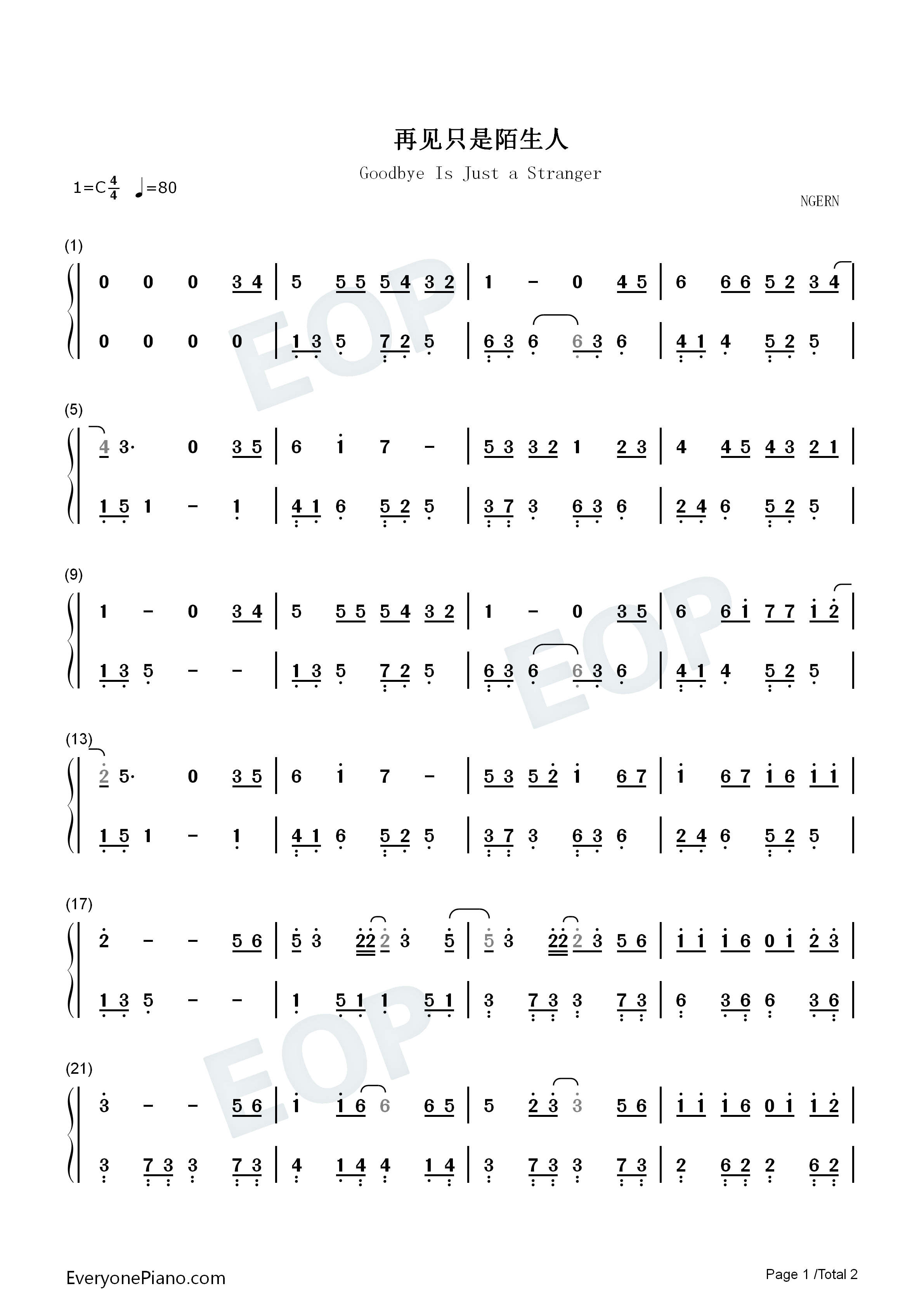 Goodbye Is Just a Stranger-Easy Version Numbered Musical Notation Preview 1