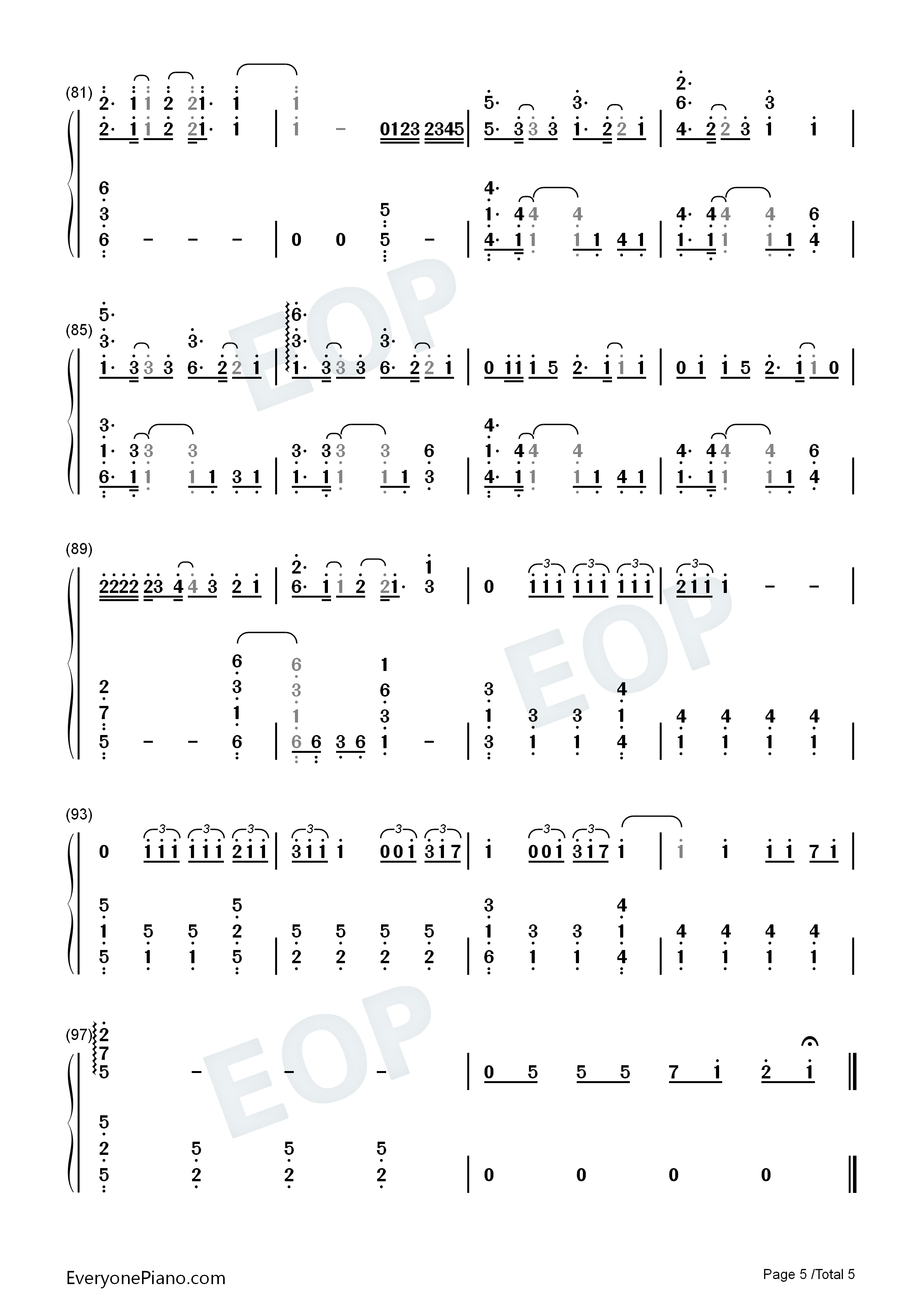 Hope-One Piece OP20 Numbered Musical Notation Preview 5