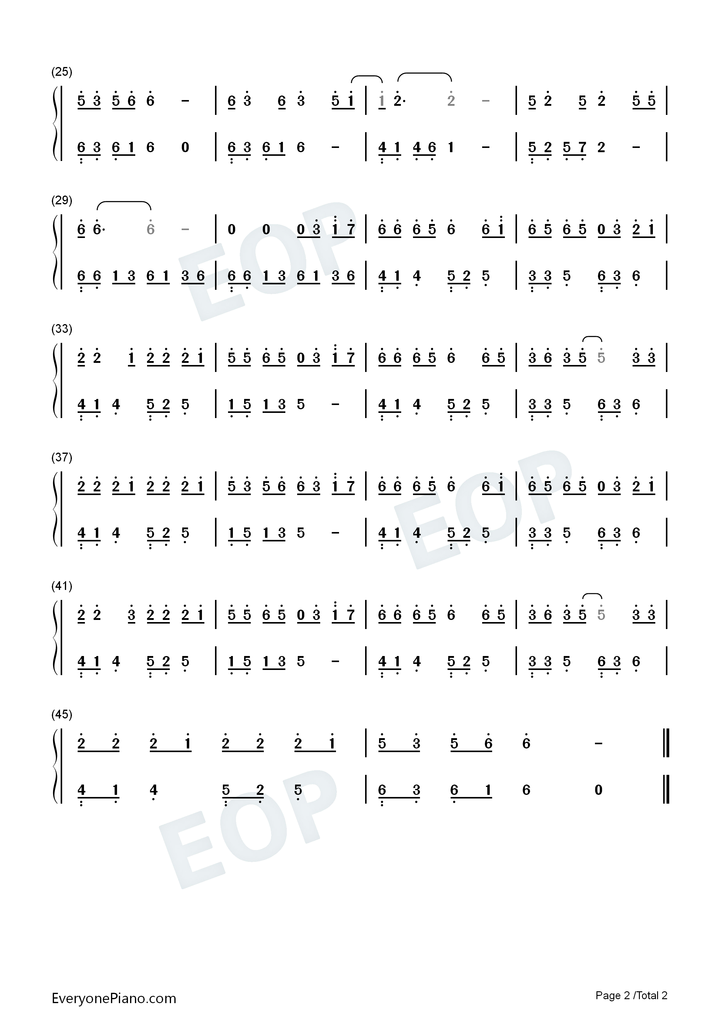 Love Is Not Over-Easy Version Numbered Musical Notation Preview 2