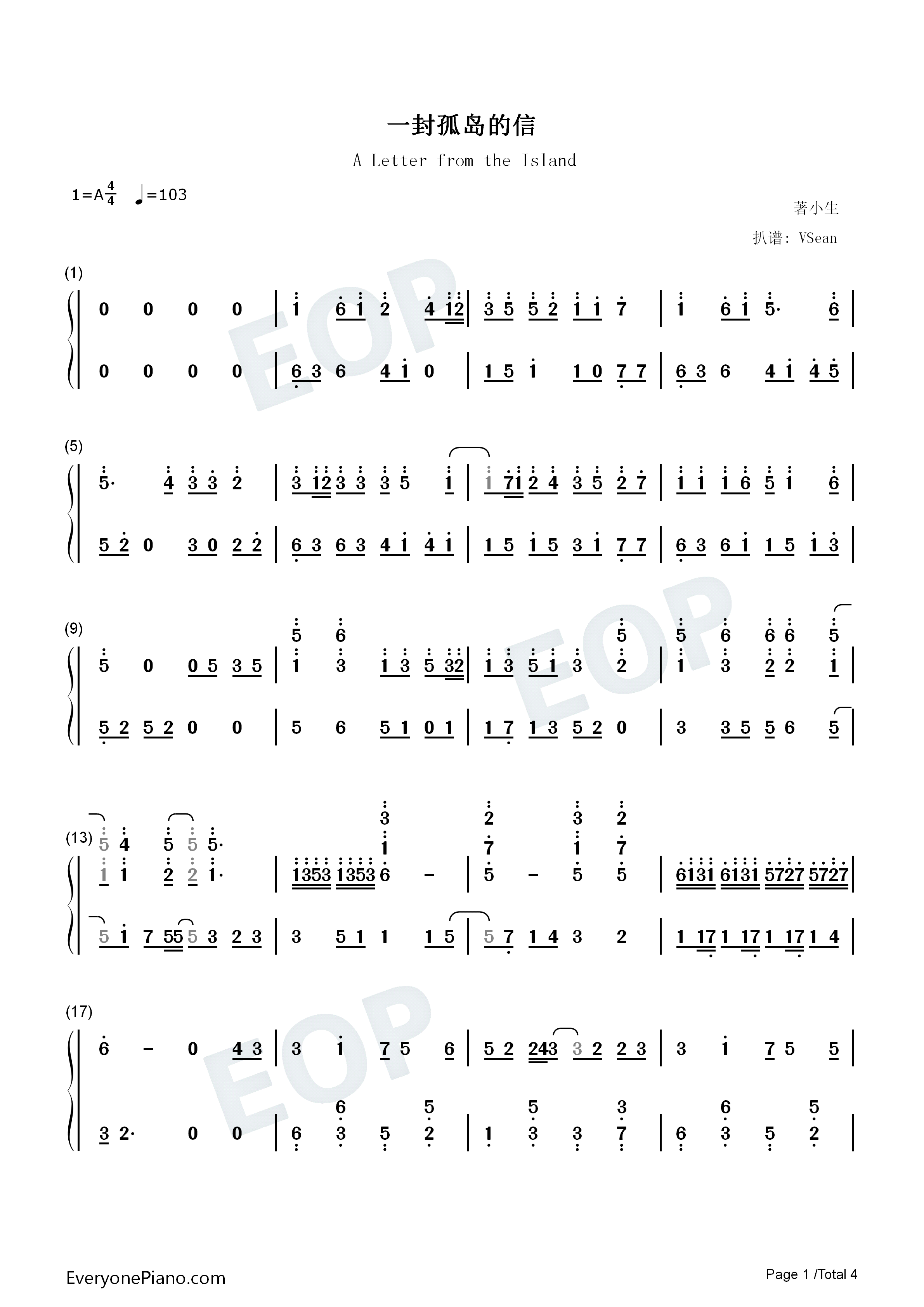 A Letter from the Island Numbered Musical Notation Preview 1