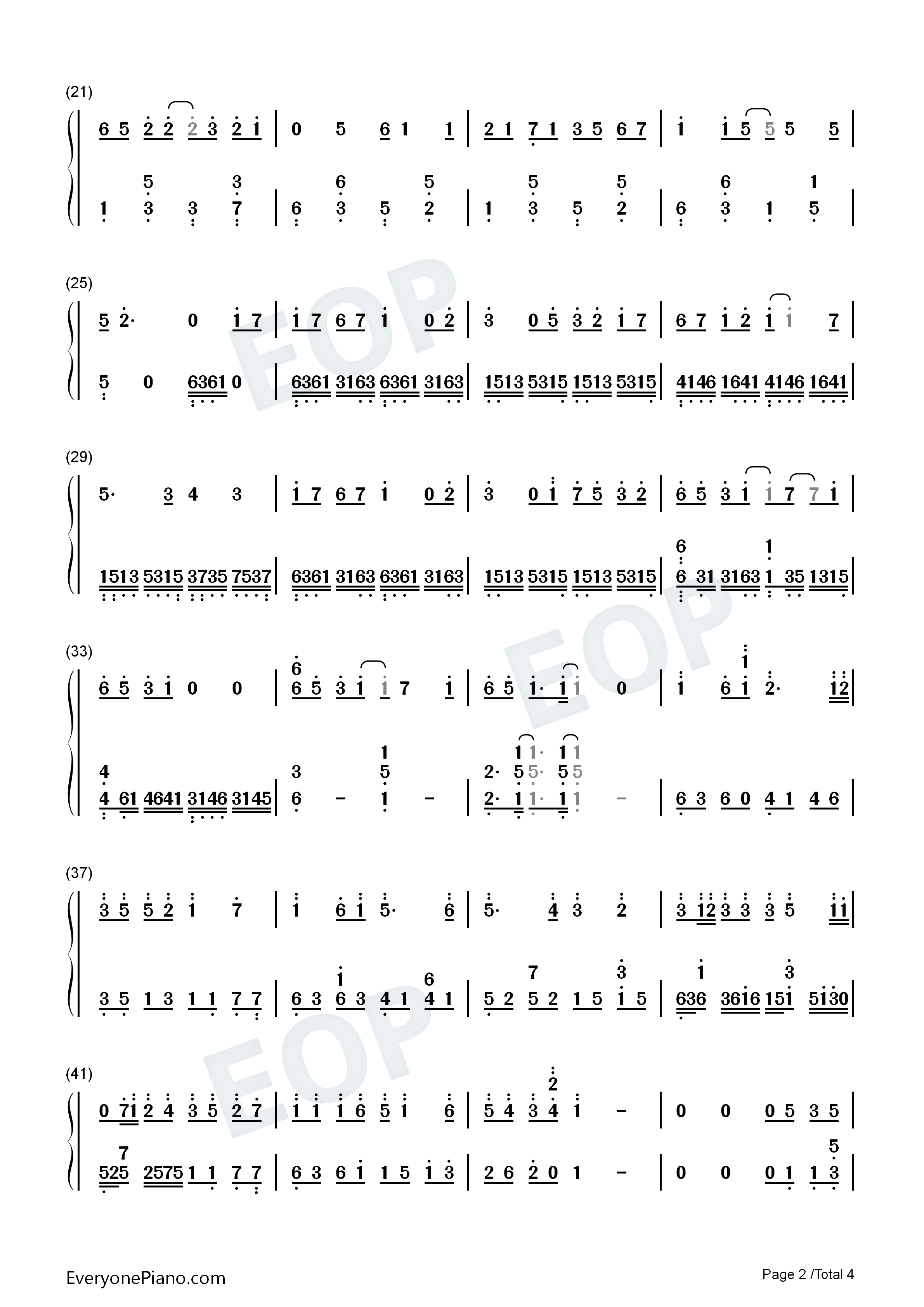 A Letter from the Island Numbered Musical Notation Preview 2