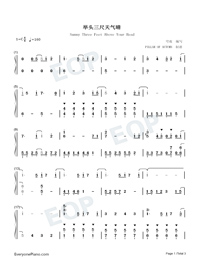 Sunny Three Feet Above Your Head-Nekojishi Theme Numbered Musical Notation Preview 1