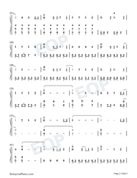 Sunny Three Feet Above Your Head-Nekojishi Theme Numbered Musical Notation Preview 2