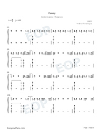 Funny-Zedd ft Jasmine Thompson-Numbered-Musical-Notation-Preview-1