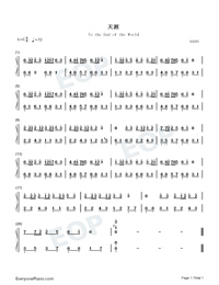 To the End of the World-Easy Version-Numbered-Musical-Notation-Preview-1