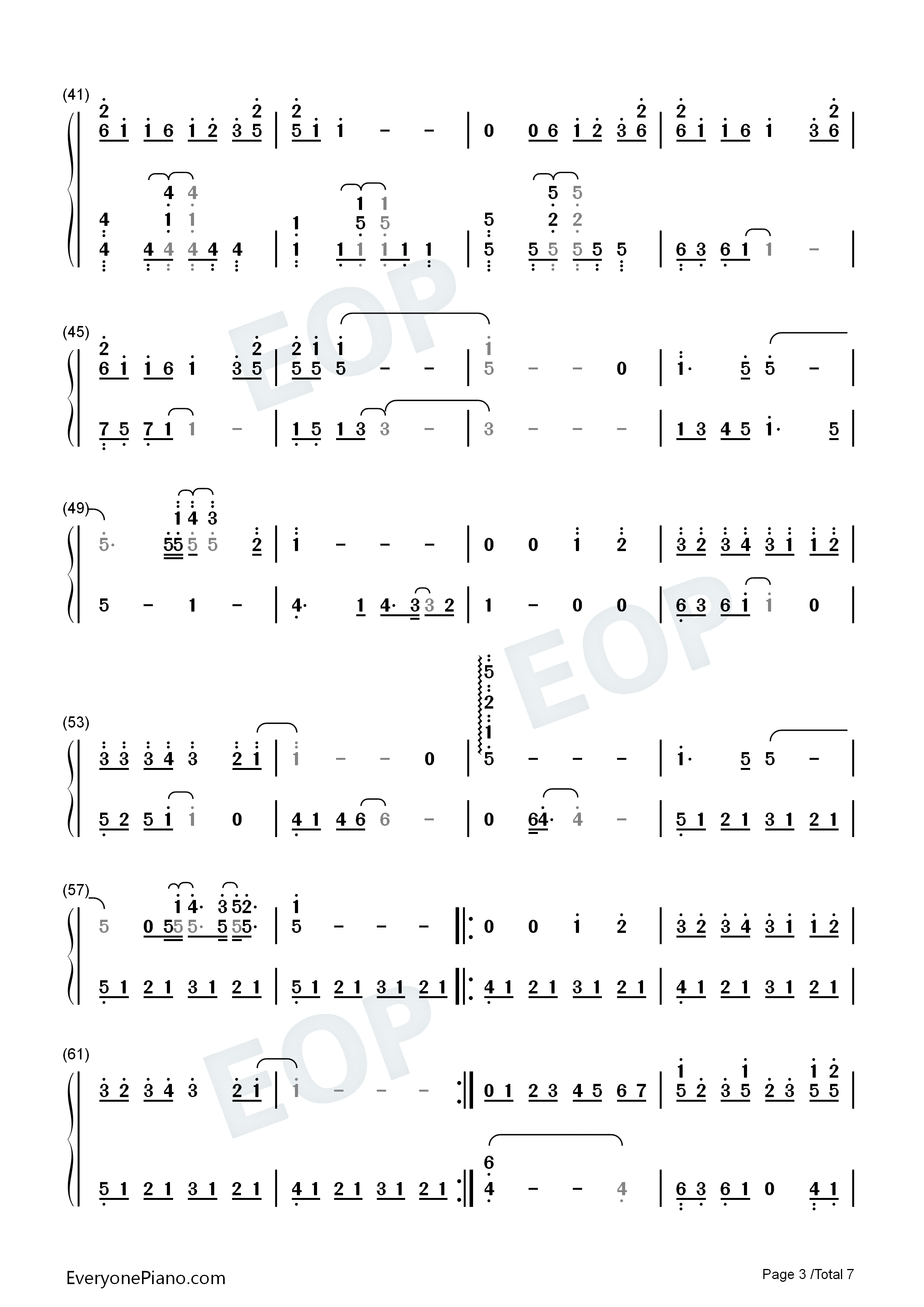 Your Name Song Medley Numbered Musical Notation Preview 3