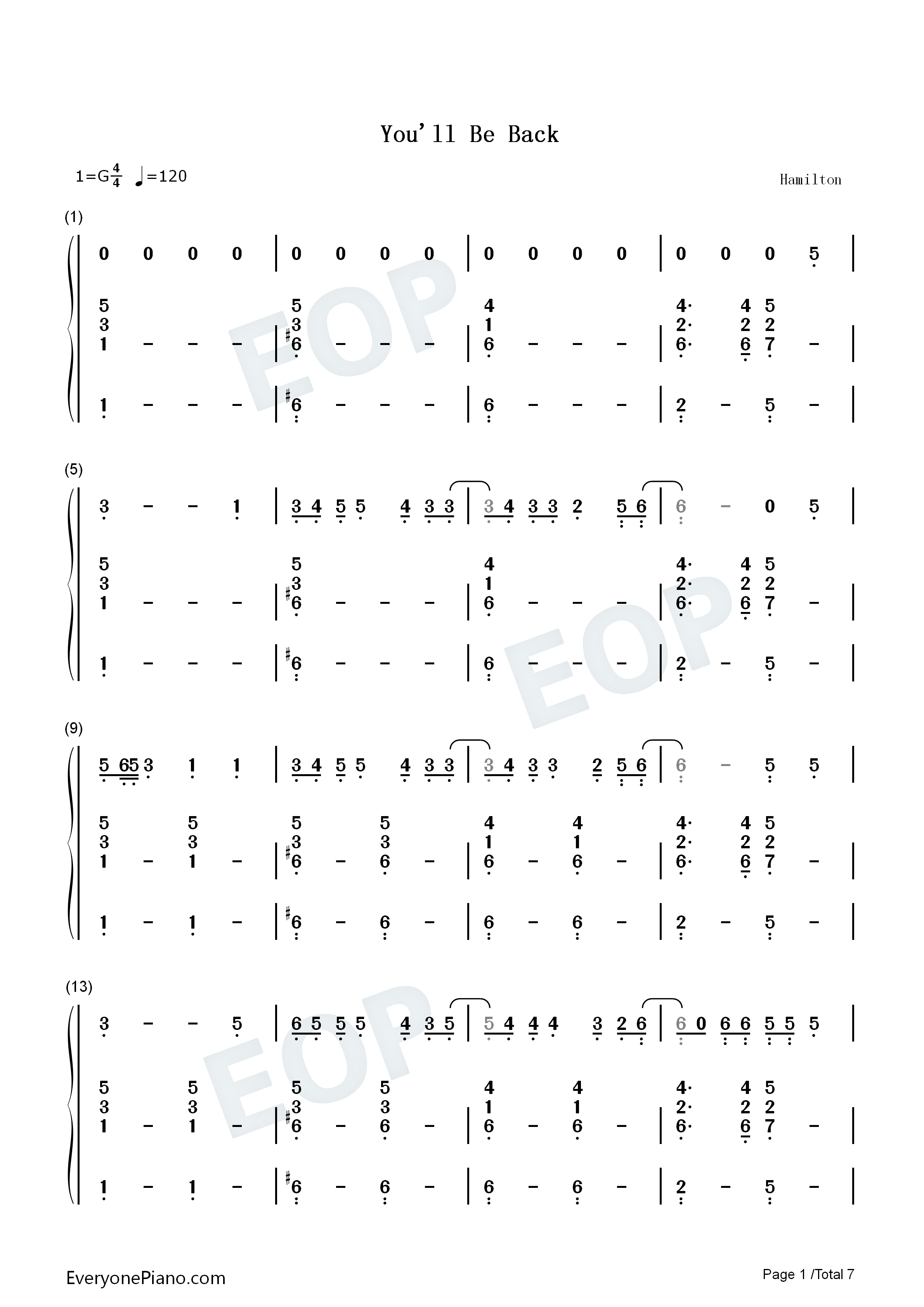 You Will Be Back-Hamilton OST Numbered Musical Notation Preview 1