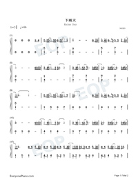 Rainy Day-Easy Version-Numbered-Musical-Notation-Preview-1