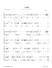 Love In A Life Time-C Major Easy Version Numbered Musical Notation Preview 1