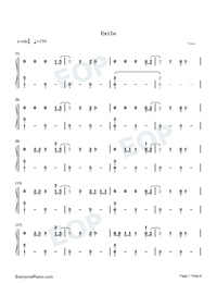 Exile-Taylor Swift ft Bon Iver Numbered Musical Notation Preview 1