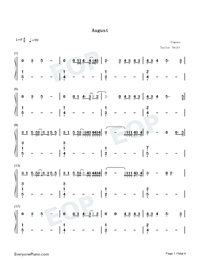 August-Taylor Swift-Numbered-Musical-Notation-Preview-1