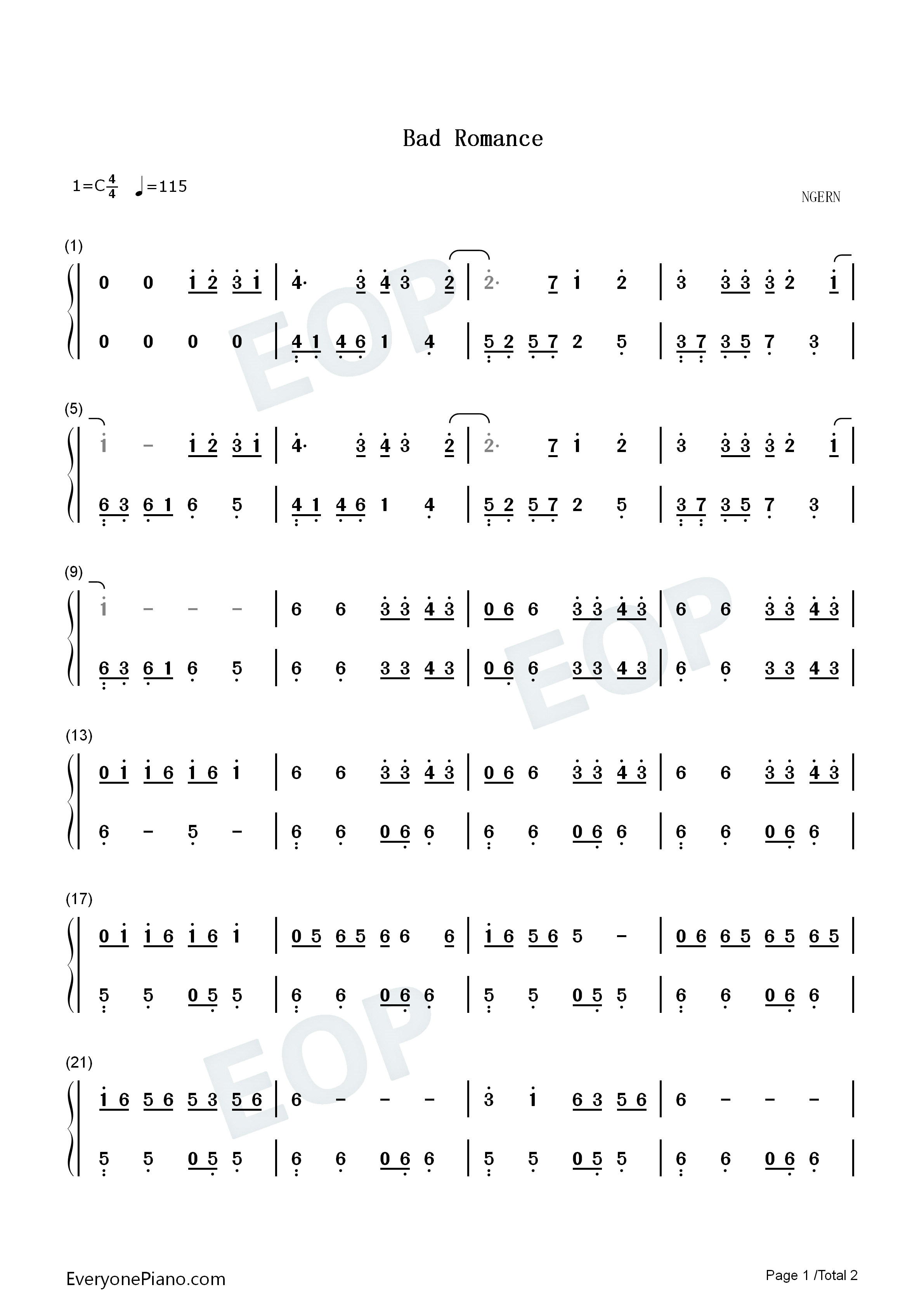 Bad Romance-Easy Version Numbered Musical Notation Preview 1