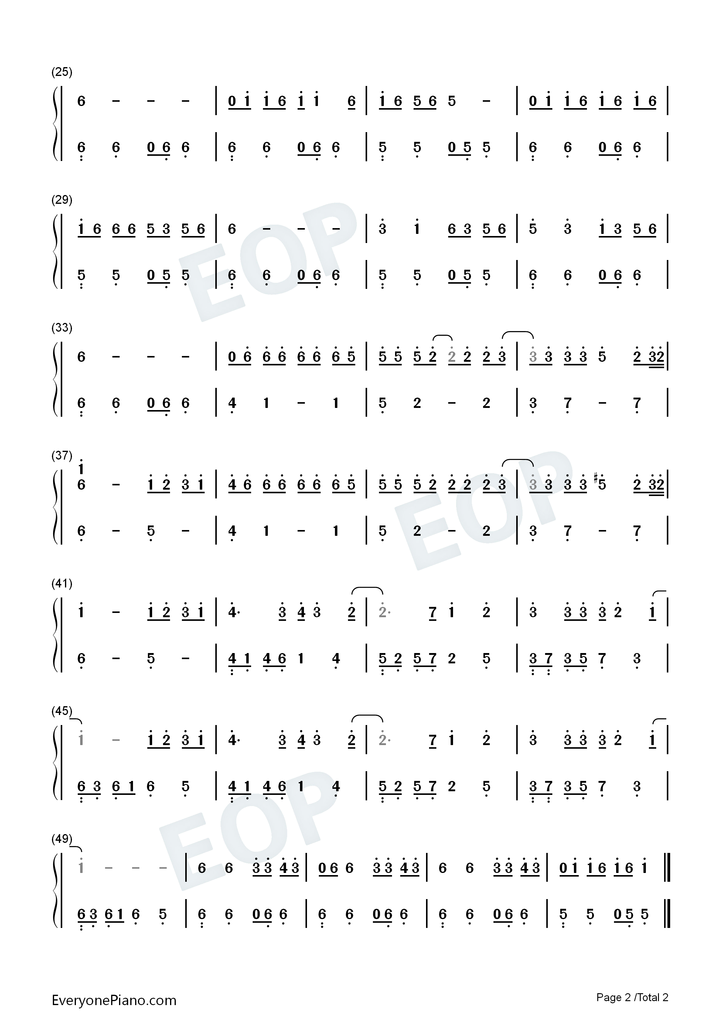 Bad Romance-Easy Version Numbered Musical Notation Preview 2