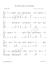 The Twelve Days of Christmas-Easy Version Numbered Musical Notation Preview 1