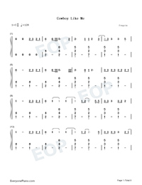 Cowboy Like Me-Taylor Swift-Numbered-Musical-Notation-Preview-1