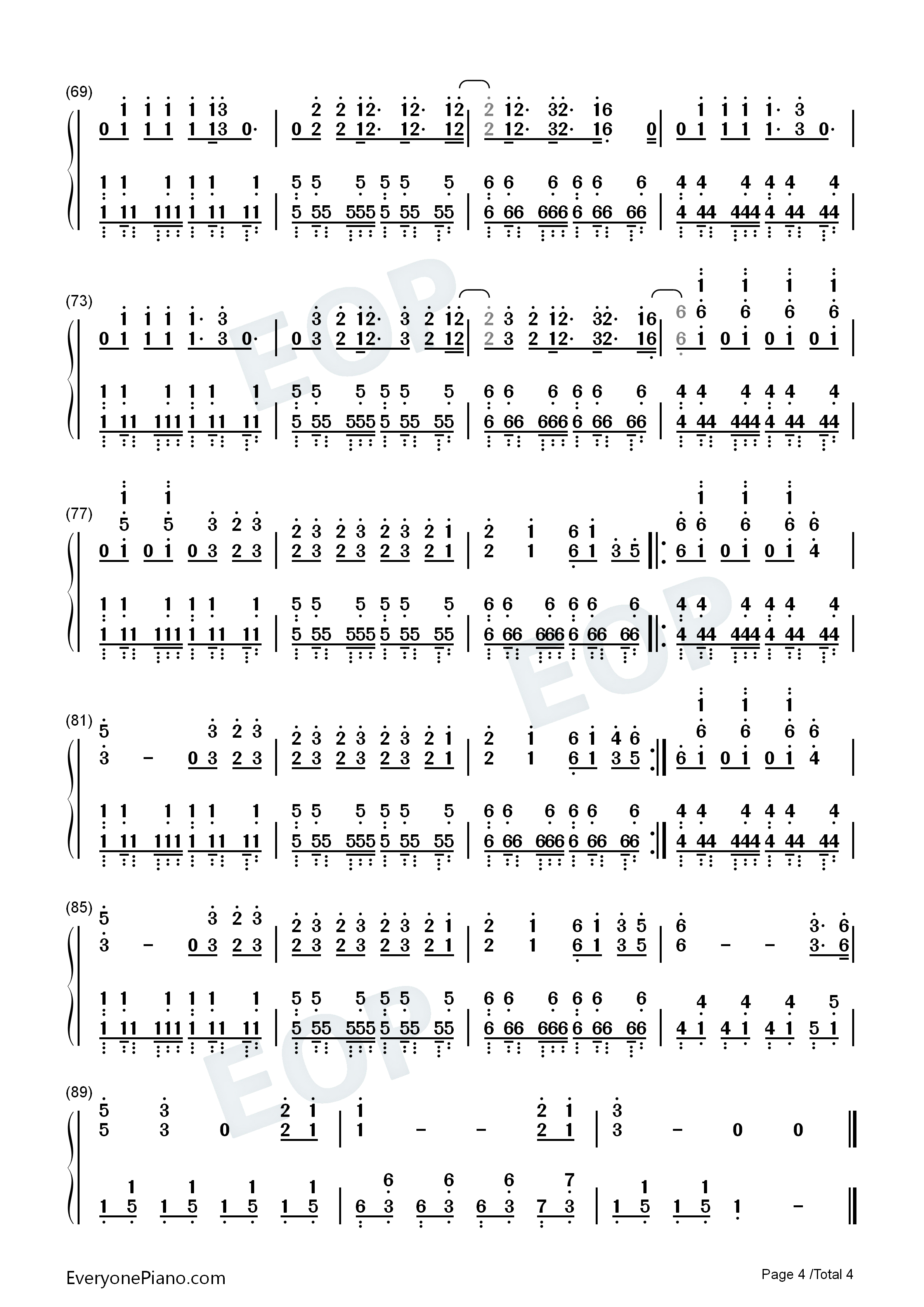 West Coast-Imagine Dragons Numbered Musical Notation Preview 4