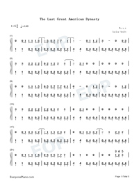 The Last Great American Dynasty-Taylor Swift Numbered Musical Notation Preview 1