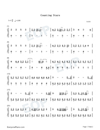 Counting Stars-Easy Version Numbered Musical Notation Preview 1