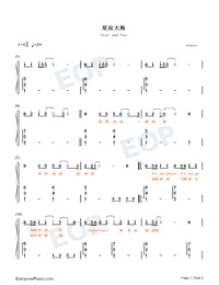 Star and Sea-Easy Version-Numbered-Musical-Notation-Preview-1
