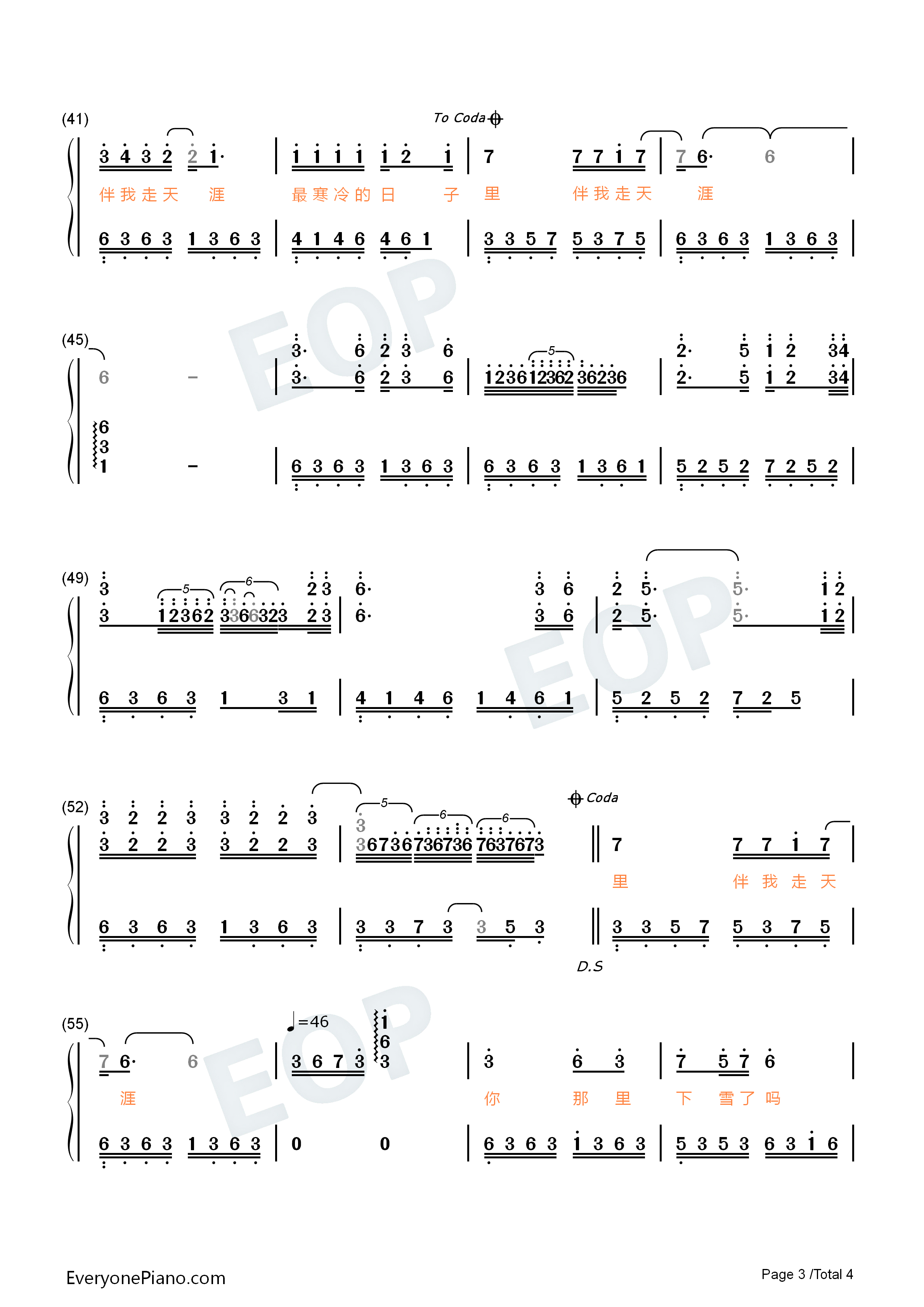 Is Your Place Snowing Numbered Musical Notation Preview 3