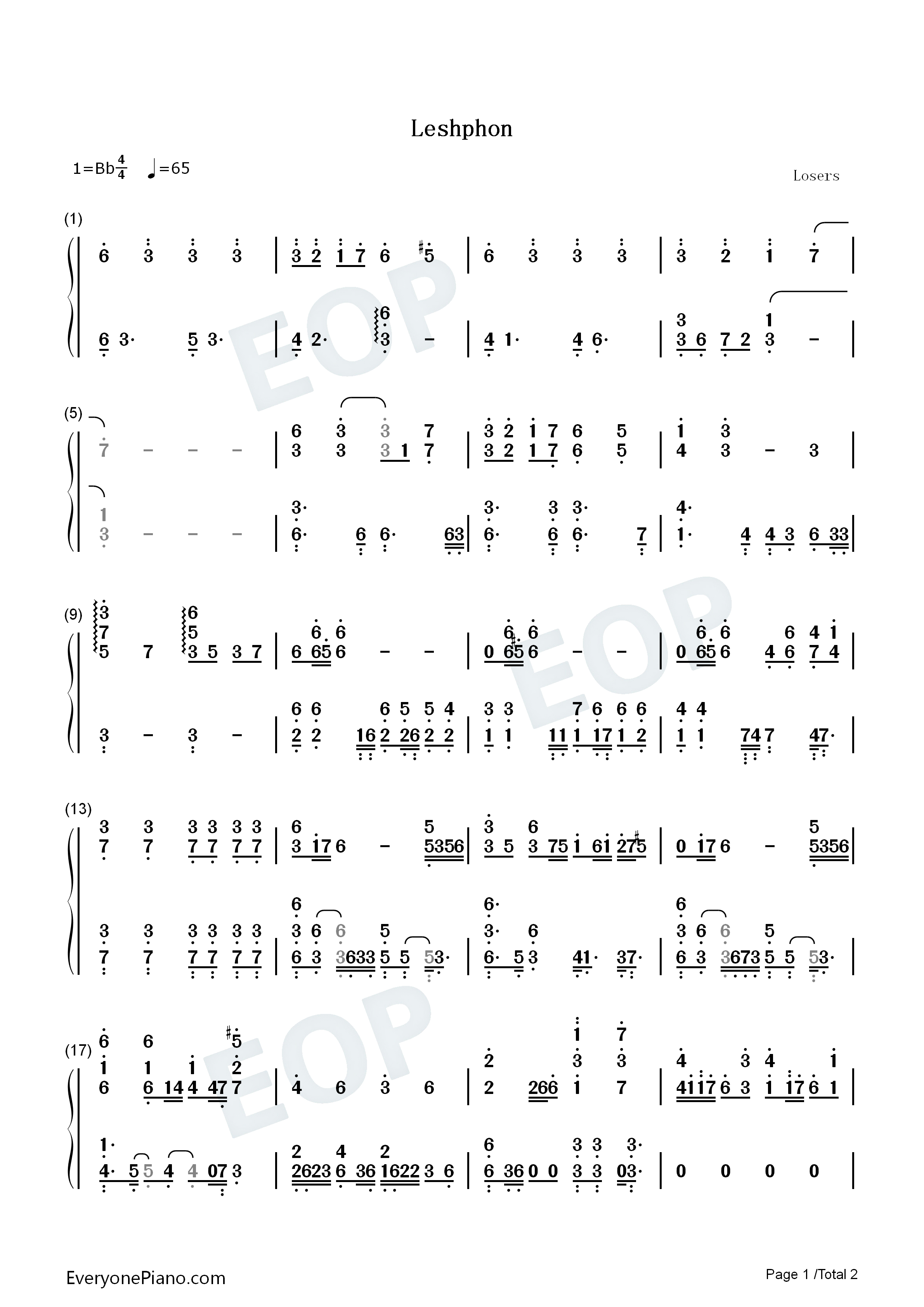 Leshphon-DNF Numbered Musical Notation Preview 1