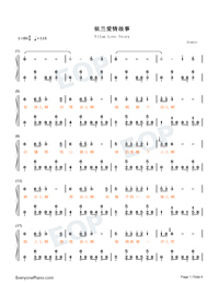 Yilan Love Story-Hi Mom ED Numbered Musical Notation Preview 1