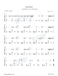 Sunflower-Adapted Version-Numbered-Musical-Notation-Preview-1