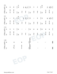 Dancer in Yellow Dress-Original Music Numbered Musical Notation Preview 5