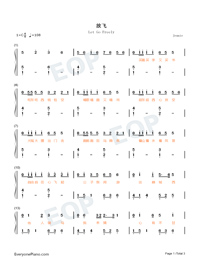 Let Go Freely-Easy Version-My Heroic Husband Theme-Numbered-Musical-Notation-Preview-1