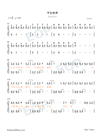 Parallel-Easy Version-A Writers Odyssey Theme Numbered Musical Notation Preview 1