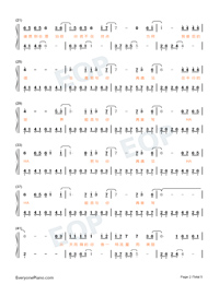 Parallel-Easy Version-A Writers Odyssey Theme Numbered Musical Notation Preview 2