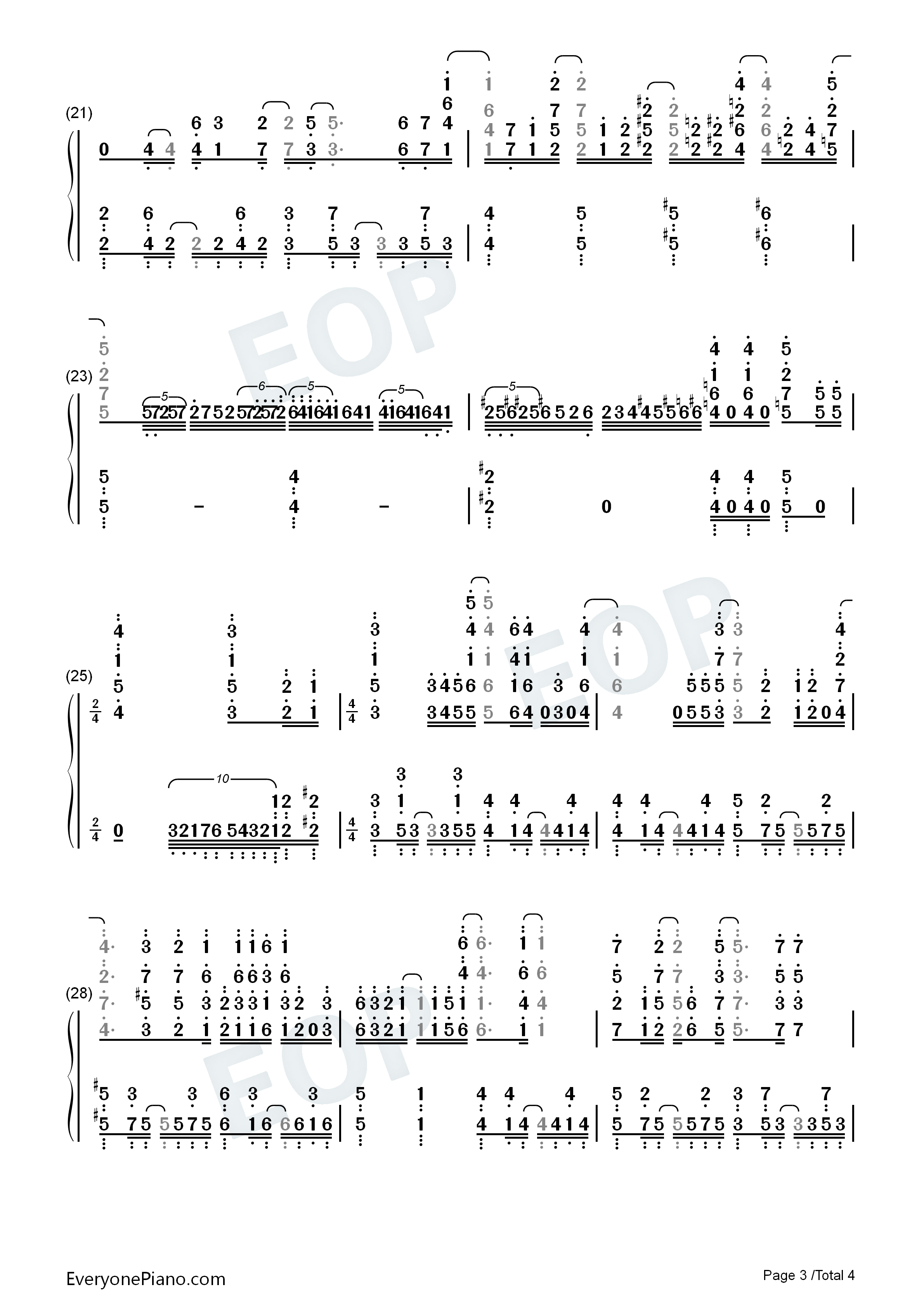 Kokou no Hikari Lonely Dark-Plunderer OP2 Numbered Musical Notation Preview 3