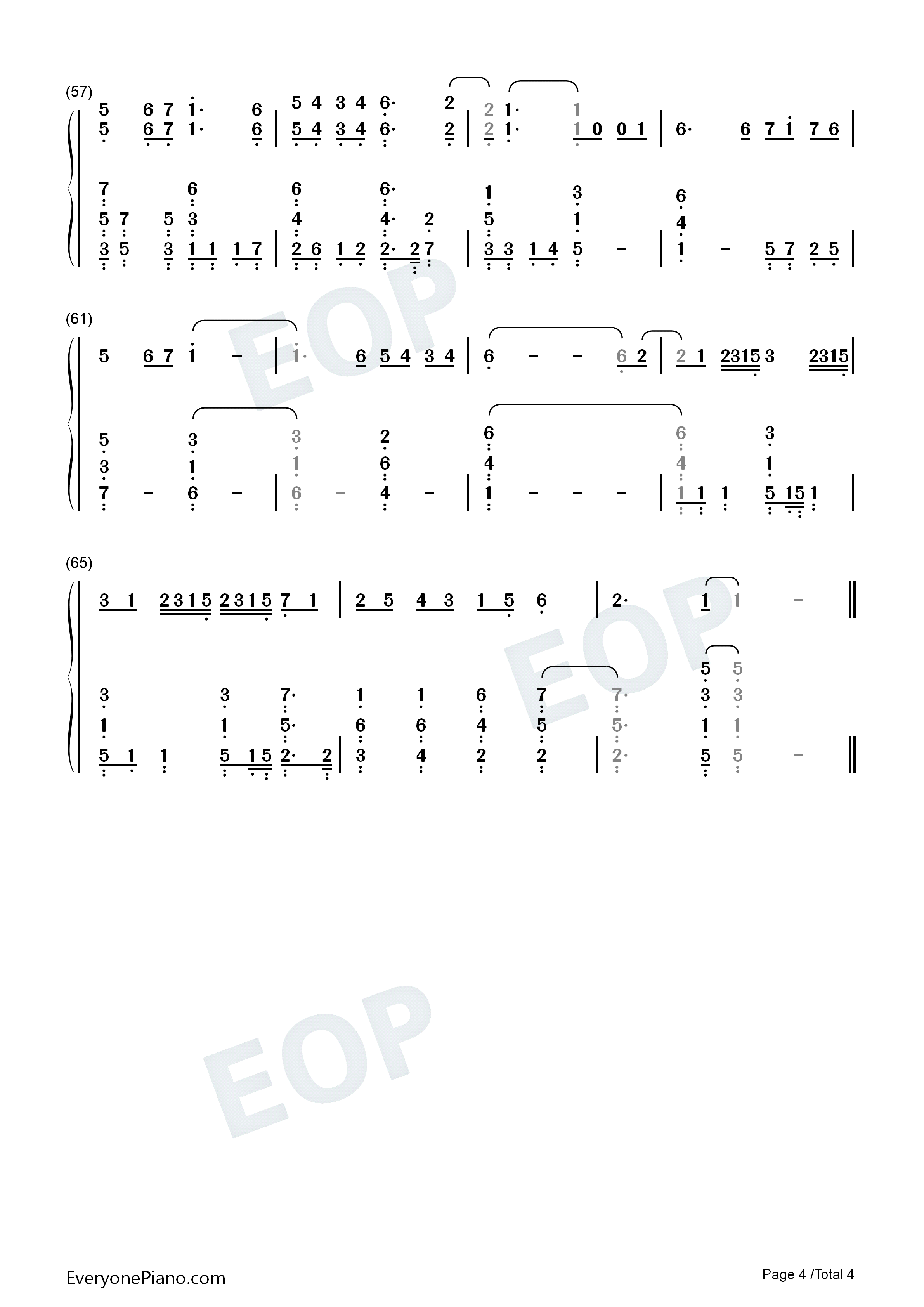 You and Me-Easy Version-Obsessed With Heart Theme Numbered Musical Notation Preview 4