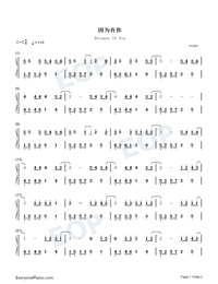 Because Of You-Easy Version-You Are My Hero Theme-Numbered-Musical-Notation-Preview-1