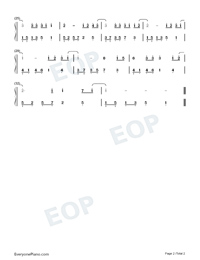 Because Of You-Easy Version-You Are My Hero Theme-Numbered-Musical-Notation-Preview-2