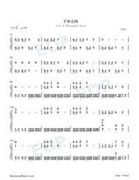Over A Thousands Years-Guardians of the Ancient Oath Theme-Numbered-Musical-Notation-Preview-1