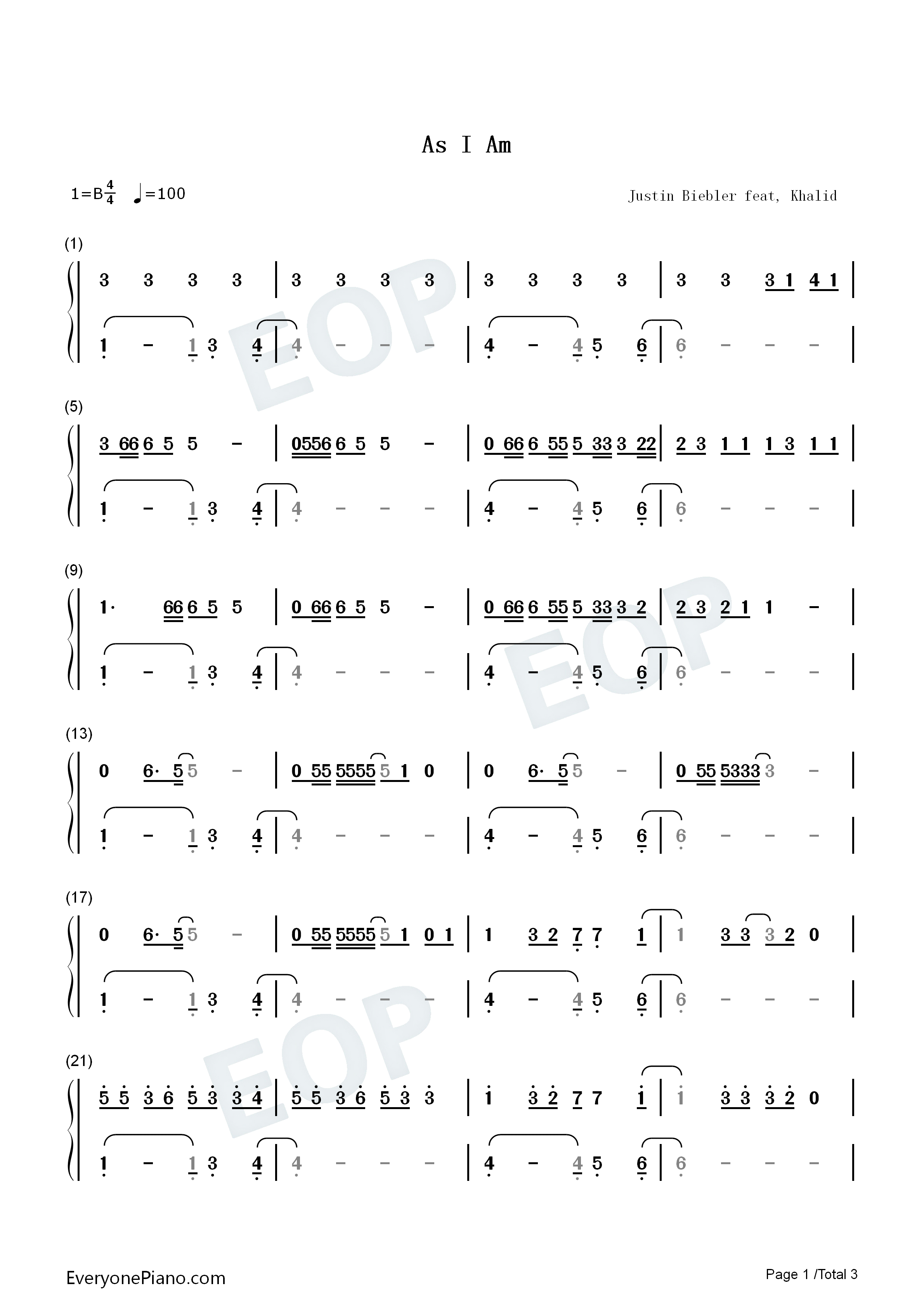 As I Am-Justin Bieber ft Khalid Numbered Musical Notation Preview 1