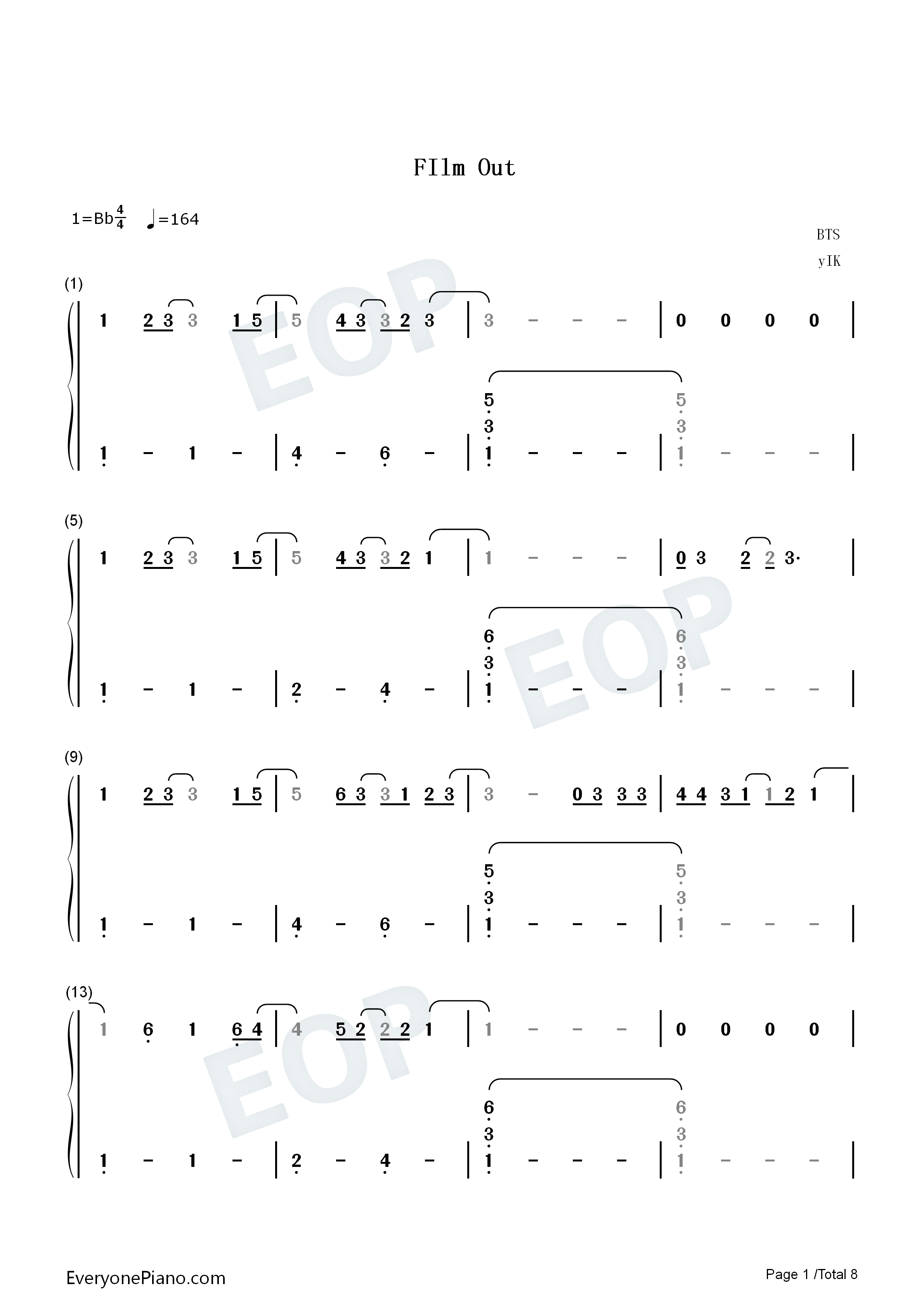 Film Out-Signal the Movie Cold Case Investigation Unit Theme Numbered Musical Notation Preview 1