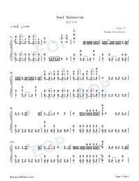 Soul Salvation-Shaman King OP-Numbered-Musical-Notation-Preview-1