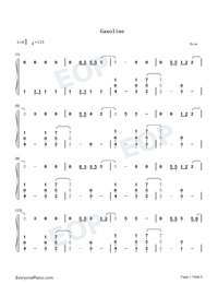 Gasoline-Haim ft Taylor Swift Numbered Musical Notation Preview 1