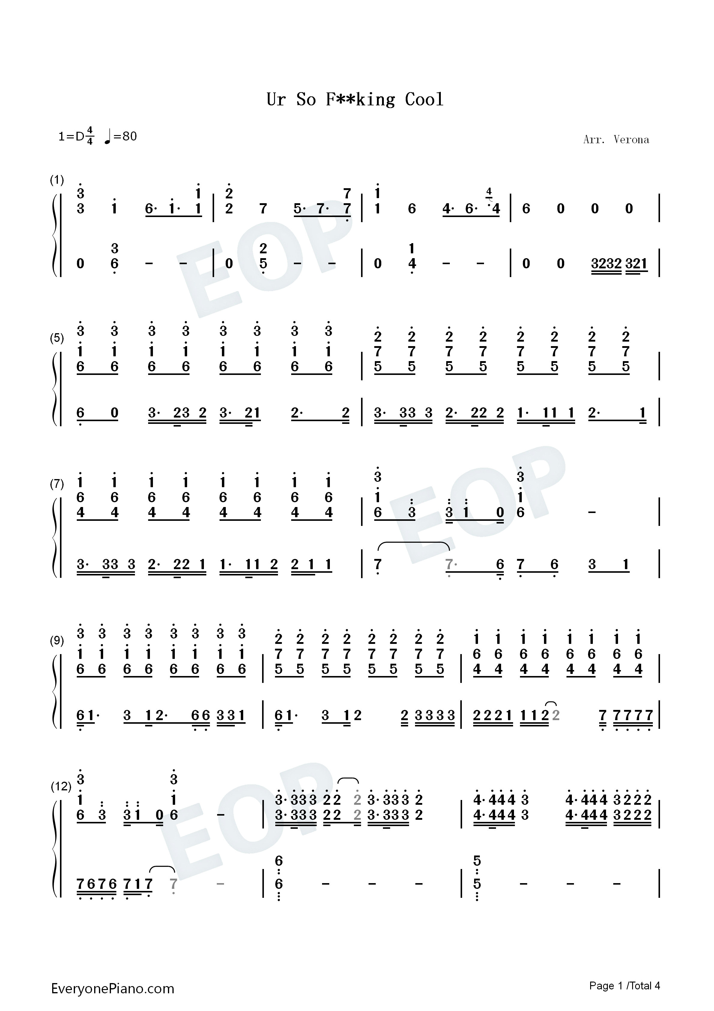 Ur So F**king Cool-Tones and I Numbered Musical Notation Preview 1