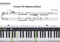Needed Me-Rihanna,R3hab-Free Piano Sheet Music
