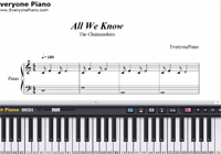 All We Know-The Chainsmokers-Free Piano Sheet Music